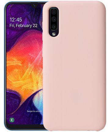 Samsung Galaxy A50 Hoesje TPU met Rubber Coating Roze Goud Hoesjes