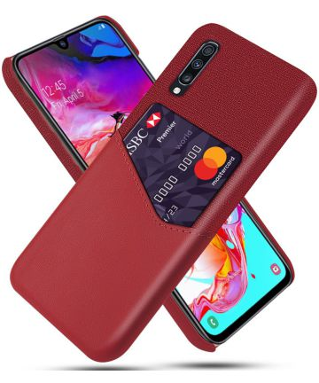 Samsung Galaxy A70 Back Cover met Kaarthouder Rood Hoesjes