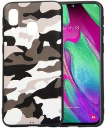 Samsung Galaxy A40 TPU Hoesje met Camouflage Print Wit