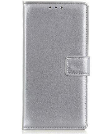 Samsung Galaxy A40 Stijlvol Portemonnee Hoesje met Standaard Zilver Hoesjes