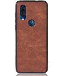 Motorola One Vision Hoesje met Kunstleer Coating Bruin