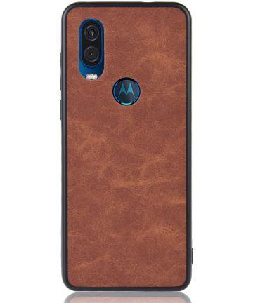 Motorola One Vision Hoesje met Kunstleer Coating Bruin Hoesjes