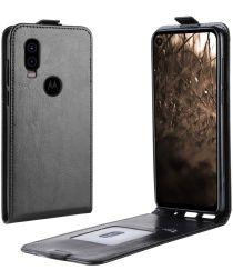 Verticale Motorola One Vision Flip Hoesje Zwart