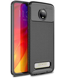Motorola Moto Z4 Play Siliconen Carbon Hoesje Zwart