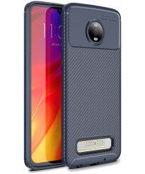 Motorola Moto Z4 Play Siliconen Carbon Hoesje Blauw