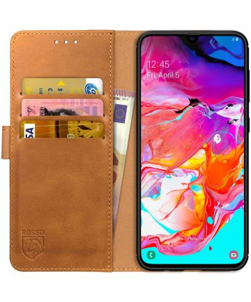 Rosso Element Samsung Galaxy A70 Hoesje Book Cover Lichtbruin Hoesjes