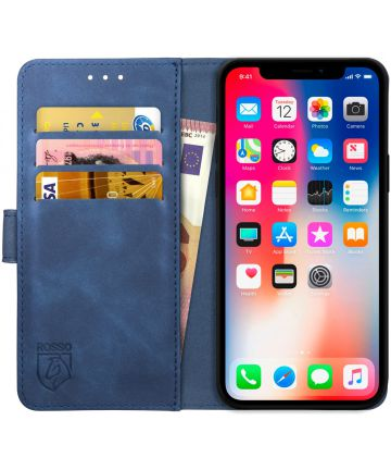 Rosso Element Apple iPhone XS / X Hoesje Book Cover Blauw Hoesjes