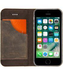 Senza Raw Skinny Leren Portemonnee Hoesje iPhone 5(S) / SE Donkerbruin