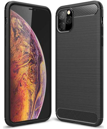 Apple iPhone 11 Pro Hoesje Geborsteld TPU Zwart Hoesjes