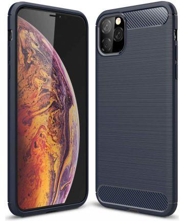 Apple iPhone 11 Pro Hoesje Geborsteld TPU Blauw Hoesjes