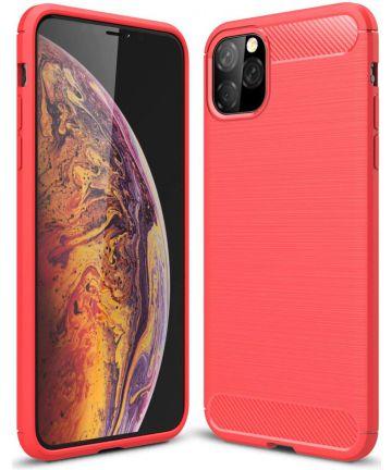 Apple iPhone 11 Pro Hoesje Geborsteld TPU Rood Hoesjes