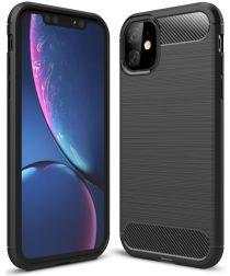 Apple iPhone 11 Geborsteld TPU Hoesje Zwart