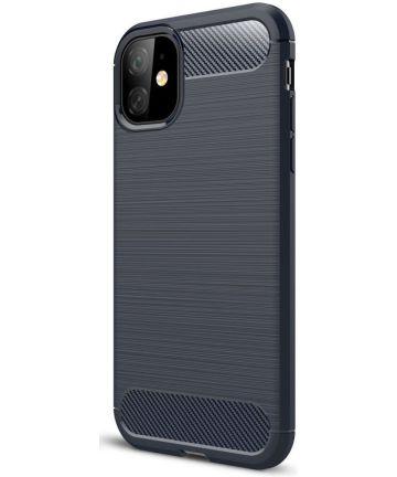Apple iPhone 11 Hoesje Geborsteld TPU Blauw Hoesjes