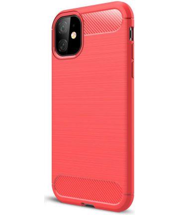 Apple iPhone 11 Hoesje Geborsteld TPU Rood Hoesjes