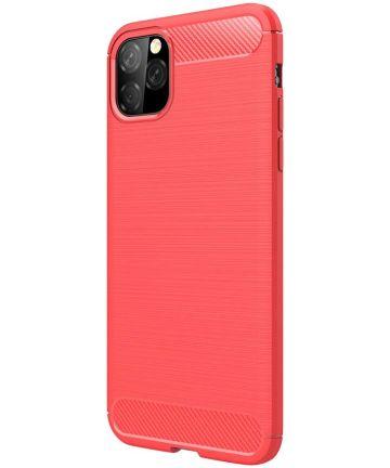 Apple iPhone 11 Pro Max Geborsteld TPU Hoesje Rood Hoesjes