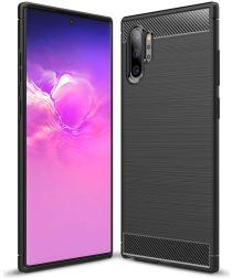 Samsung Galaxy Note 10 Plus Geborsteld TPU Hoesje Zwart