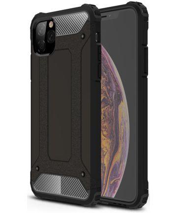 Apple iPhone 11 Pro Max Hoesje Shock Proof Hybride Back Cover Zwart Hoesjes