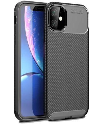 Apple iPhone 11 Hoesje Geborsteld Carbon Zwart Hoesjes