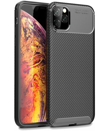 Apple iPhone 11 Pro Max Siliconen Carbon Hoesje Zwart Hoesjes