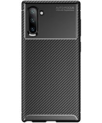 Samsung Galaxy Note 10 Siliconen Carbon Hoesje Zwart