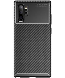 Samsung Galaxy Note 10 Plus Siliconen Carbon Hoesje Zwart