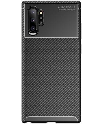 Samsung Galaxy Note 10 Plus Siliconen Carbon Hoesje Zwart Hoesjes