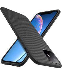 Apple iPhone 11 Hoesje Twill Slim Textuur Zwart