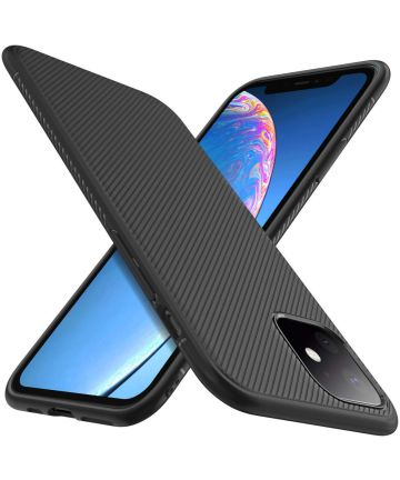 Apple iPhone 11 Hoesje Twill Slim Textuur Zwart Hoesjes