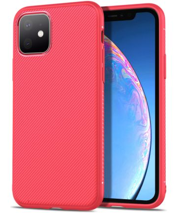 Apple iPhone 11 Twill Slim Texture TPU Hoesje Rood Hoesjes