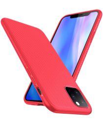 Apple iPhone 11 Pro Max Twill Slim Texture TPU Hoesje Rood