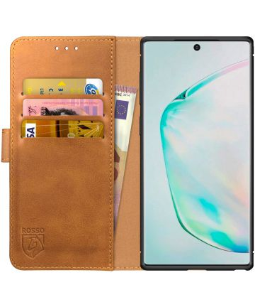 Rosso Element Samsung Galaxy Note 10 Hoesje Book Cover Lichtbruin Hoesjes
