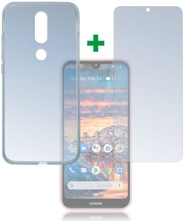 4smarts Tempered Glass en TPU Hoesje Nokia 4.2 Transparant Hoesjes