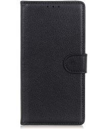 LG K40 Lychee Portemonnee Hoesje met Standaard Zwart
