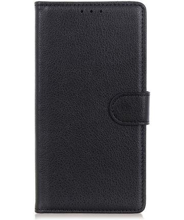 LG K40 Lychee Portemonnee Hoesje met Standaard Zwart Hoesjes