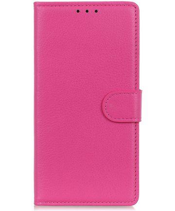 LG K40 Lychee Portemonnee Hoesje met Standaard Roze Hoesjes