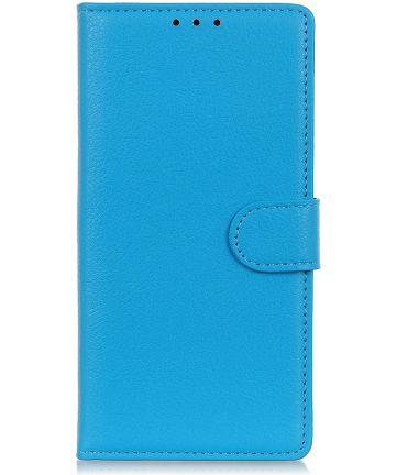 LG K40 Lychee Portemonnee Hoesje met Standaard Blauw Hoesjes