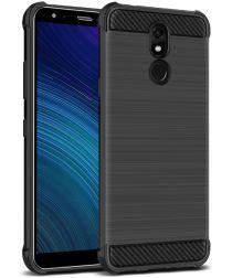 LG K40 Geborsteld TPU Hoesje Zwart