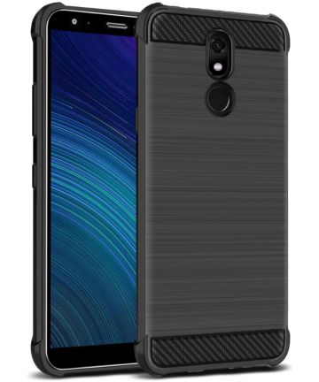 IMAK Vega Series LG K40 Hoesje Schokbestendig en Geborsteld TPU Zwart Hoesjes