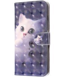 LG K50 Portemonnee Hoesje met Kat Print