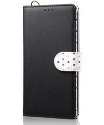 Samsung Galaxy Note 10 Plus Retro Dots Portemonnee Hoesje Zwart