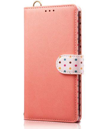 Samsung Galaxy Note 10 Plus Retro Dots Portemonnee Hoesje Roze