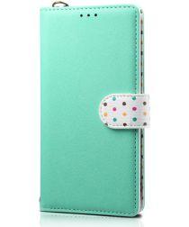 Samsung Galaxy Note 10 Plus Retro Dots Portemonnee Hoesje Groen