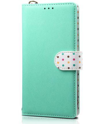 Samsung Galaxy Note 10 Plus Retro Dots Portemonnee Hoesje Groen Hoesjes
