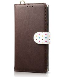 Samsung Galaxy Note 10 Plus Retro Dots Portemonnee Hoesje Bruin