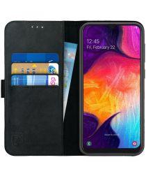 Rosso Deluxe Samsung Galaxy A70 Hoesje Echt Leer Book Case Zwart
