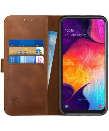 Rosso Deluxe Samsung Galaxy A70 Hoesje Echt Leer Book Case Bruin Hoesjes