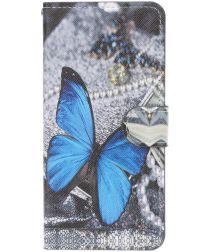 Samsung Galaxy A40 Portemonnee Hoesje met Print Blauwe Vlinder