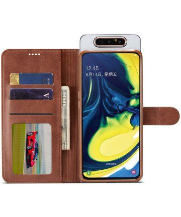 Samsung Galaxy A80 Stand Portemonnee Bookcase Hoesje Donkerbruin Hoesjes