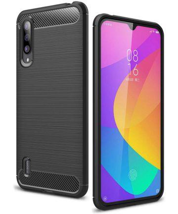 Xiaomi Mi A3 Geborsteld TPU Hoesje Zwart Hoesjes