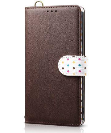 Samsung Galaxy A7 (2018) Retro Dots Portemonnee Hoesje Bruin Hoesjes